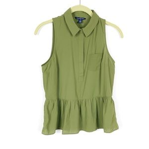 American Eagle olive green peplum hem blouse xs